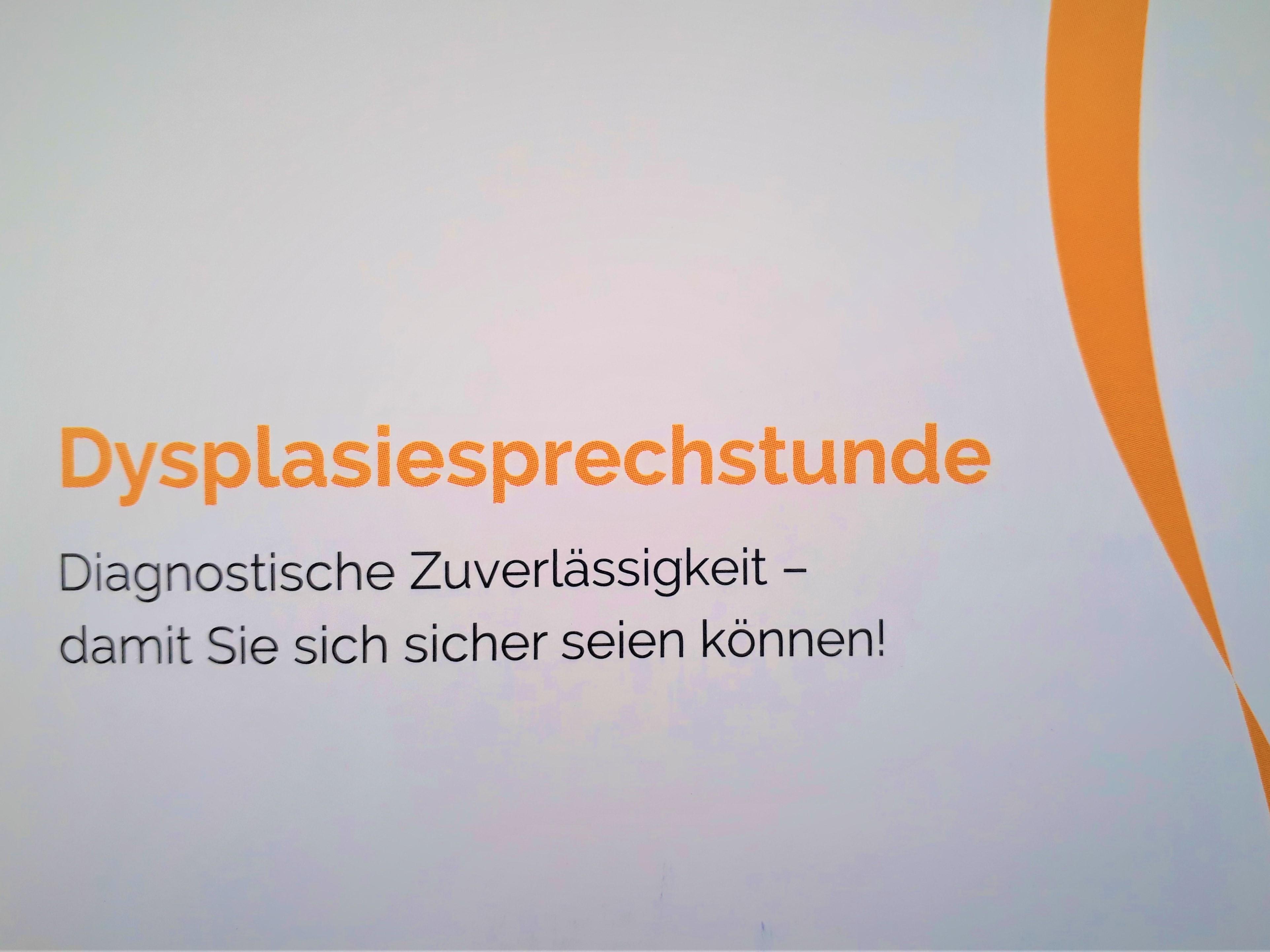 Dysplasiesprechstunde der Praxisklinik Rhein-Waal - </p> Zertifizierung durch die Kassenärztliche Vereinigung Nordrhein -