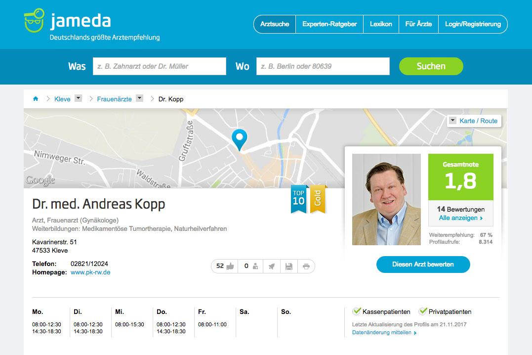 jameda <b>– Deutschlands größte Ärzteempfehlung</b>